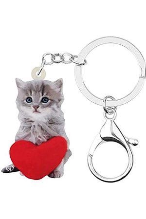 WEVENI JEWELRY Weveni Schlüsselanhänger aus Acryl, Herzform, süße Katze, Kätzchen, Ringe, Tier-Schlüsselanhänger für Frauen, Mädchen, Teenager, Tasche, Geldbörse, Auto, Geldbörse, Charm