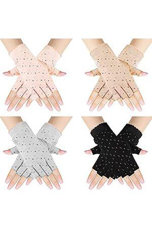 SATINIOR Fingerlose Handschuhe für Damen, UV-Schutz, halbe Finger, Sommerhandschuhe, Sonnenschutz, Handschuhe zum Autofahren, Reiten, Angeln, Golfen