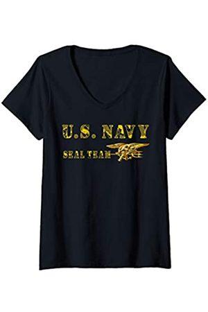 Navy London Damen U.S. SEAL TEAM ORIGINAL LOGO T-SHIRT T-Shirt mit V-Ausschnitt