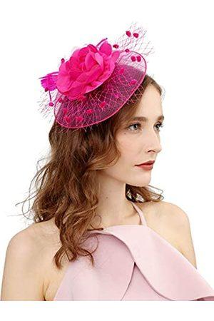 Cizoe Fascinator-Hut für Damen, 50er-Jahre-Kopfbedeckung mit Schleier, Blume, für Cocktailparty, Hochzeit, Teeparty, Kirche