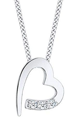 DIAMORE Halskette Damen Herz Anhänger mit Diamant (0.06 ct.) in 925 Sterling Silber