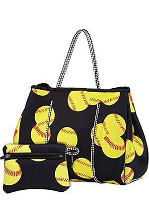 Xiaxiacole Neopren-Strandtasche mit kleiner Münzgeldbörse für Frauen, Turnbeutel, Mehrzweck-Tragetasche für Reisen, Strand, Fitnessstudio, Schwimmen, Gelb (Softball)