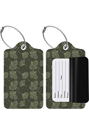 SimplyYours Gepäckanhänger aus Leder mit Sichtschutz und Edelstahl-Schlaufe für Reisetasche, Koffer (Gingko-Blätter)