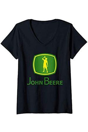 YO MINUS Damen John Beere Funny Camping Day Drinking Beer Lover BBQ Gift T-Shirt mit V-Ausschnitt