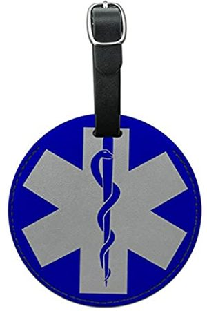 Graphics and More Graphics & More Star of Life Medizinische Gesundheit EMT Rn Md Rund Leder Gepäck ID Tag Koffer (mehrfarbig) - LEATHER.TAG.ROUND.03020