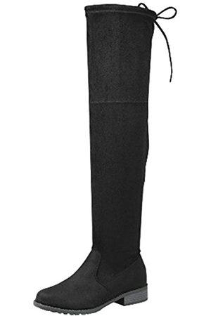 Forever Link Damen Overknee-Stiefel, kniehoch, flach