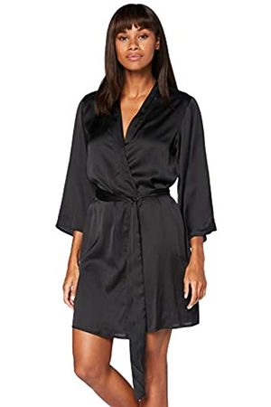 IRIS & LILLY Damen Kimono-Morgenmantel aus Baumwolle (Black), M