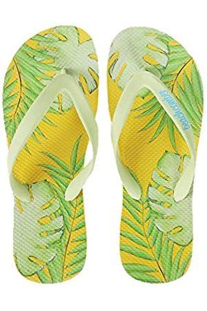 Beachcomber Blue Water Naturkautschuk Flip Flops - grüne tropische Palmenblätter mit gelbem Sonnenuntergang Hintergrund - erhältlich in 5 Unisex Größen - umweltfreundlich, (Yellow,green)