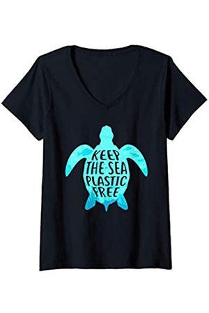 Wowsome! Damen Keep the Sea Plastic Free Turtle Shirt Straws Suck Men Women T-Shirt mit V-Ausschnitt