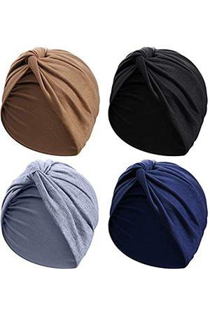 SATINIOR 4 Stücke Turbane für Frauen Soft Vorgebunden Knot Mode Plissee Turban Hut Mütze Kopfwickel Schlafmütze, 4 Farben ( , Khaki, Marineblau