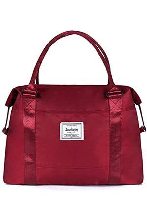 Sunshinejing Große Reisetasche für Wochenendausflüge, unisex, mit Trolleygriff, Rot (burgunderfarben)