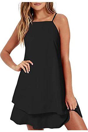 ZANZEA Damen Chiffon-Kleid, sexy, Sommer, Strand, Neckholder, kurzes Kleid, Blumendruck, lässig, Spaghettiträger