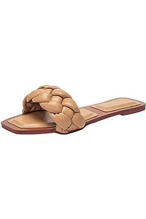 Trish Lucia Flache Damen-Sandalen mit offenem Zehenbereich, Pantoffeln, Pantoffeln, geflochtene Riemen, Slipper, Braun (khaki)