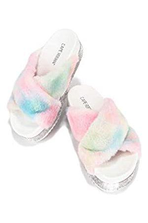Cape Robbin Spotty Furry Faux Fur Slides Slippers, Plateau Riemchensandalen Strass für Frauen, Weiß (pastellfarben)