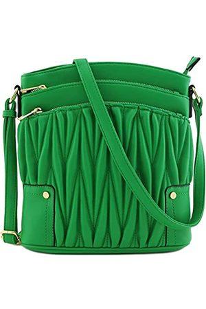 Alyssa Große Crossbody-Tasche mit drei Reißverschlusstaschen., Gr�n (Gesteppt Kelly Green)