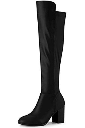 Allegra K Damen-Stiefel, runder Zehenbereich, kniehoch, klobiger Absatz