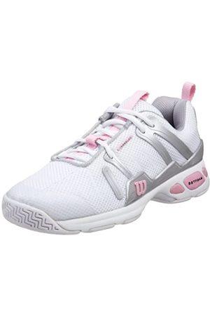 Wilson Women's Tour Spin Tennis Shoe, White/Silver/Pink