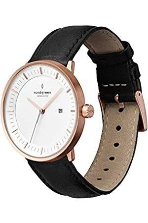 nordgreen Herren Uhren - Philosopher skandinavische Herrenuhr in Roségold mit weißem Ziffernblatt und austauschbarem 40mm Leder Armband 10002