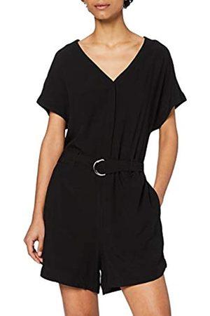 Urban classics Damen Ladies Short Viscose Belt Jumpsuit Overall, Black