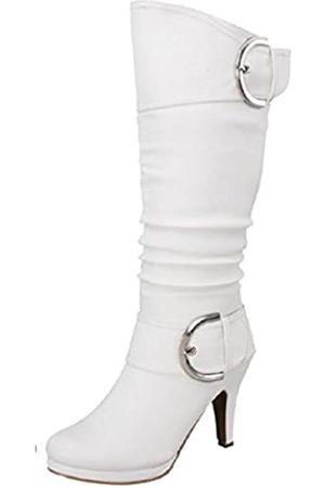 Top Moda Page-22 Damen-Stiefel, kniehoch, runder Zehenbereich, Schnalle, niedriger Absatz, Wei�