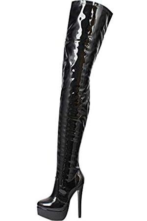 JiaLuoWei Damen Overknee-Stiefel, 16 cm hoher Absatz, Reißverschluss, sexy Stiefel, modische Schuhe, ( glänzend)