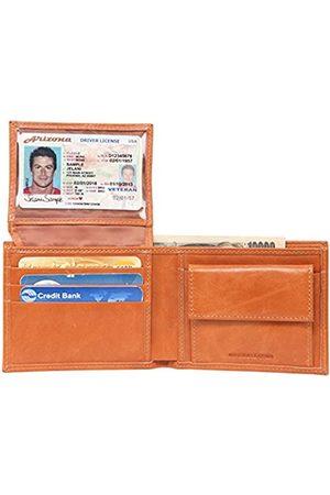 Banuce Herren-Geldbörse aus genarbtem Leder mit aufklappbarem Ausweisfenster.