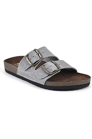 White Mountain Shoes Helga Leder-Fußbett Sandale, Blau (Ltblue/Leather)