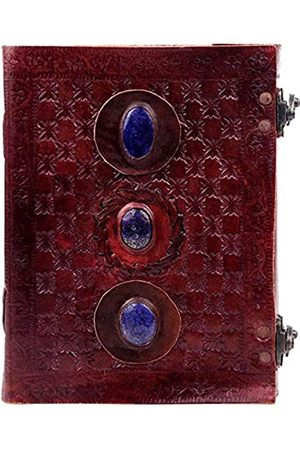 style leather world Handgefertigtes Tagebuch aus geprägtem Leder, 20,3 cm, mit Zwei Riegeln, Blauer Stein, blanko, Nachfüllbares Tagebuch
