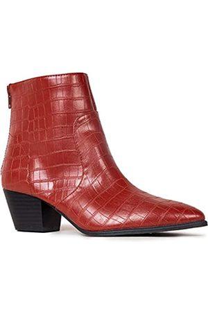 Qupid Mystique Stiefeletten für Damen, spitz zulaufender Zehenbereich, (Ziegel Krokodil)