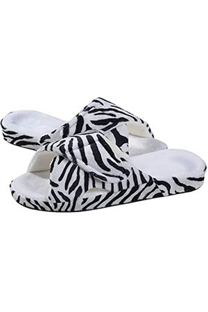shevalues Verstellbare Hausschuhe mit Fußgewölbeunterstützung, offener Zehenbereich, flauschige Sandalen, ( mit Zebramuster)