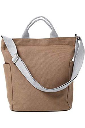 Jeelow Damen Handtaschen - Canvas Tote Handtasche Crossbody Schultertasche mit Reißverschluss für Damen und Herren, Braun (Braune Tragetasche)