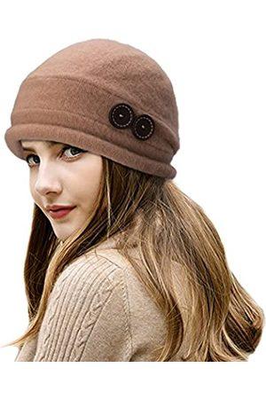 Lawliet T178 Damen Wintermütze aus 100 % Wolle, knitterfrei, mit Knöpfen