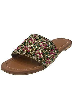 Step N Style Ethnische Sandalen für Frauen Multi Perlen Punjabi Jutti Slipon Hochzeitsschuhe, (mehrfarbig)