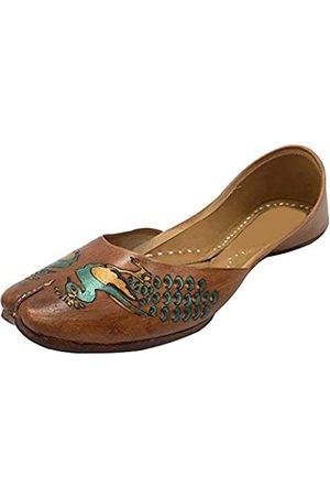Step N Style Damen Sandalen - Braune Damen-Ballett-Schuhe, flach, Pfauen-Kunstwerk, Khussa Mojari, Braun (dunkelbraun)