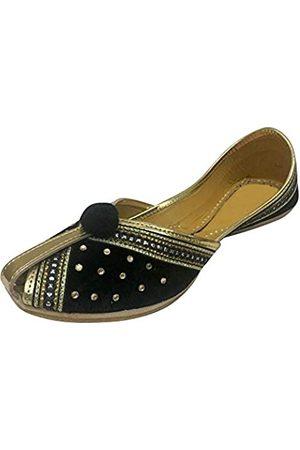 Step N Style Damen Samt & Leder Khussa Schuhe Punjabi Jutti Indische Traditionelle Mojari