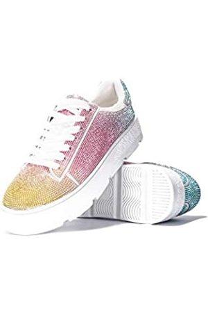 Cape Robbin Euro Plateau Sneaker für Damen, Mode Flatform Sneaker Schuhe für Frauen mit Faux Strass, Weiß (rose)