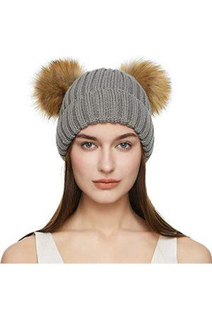 JULY SHEEP Winter Beanie Mütze für Frauen Strickmütze Doppel-Pom-Pom Kunstfell Waschbär Ball Cap Bommelmütze - Grau - Einheitsgröße