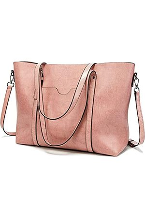 FADPRO Damen Laptop- & Aktentaschen - Large Tote Bags for Women PU Leather Satchel Purses and Handbags Shoulder Bag for Work Fits 14 Inch Laptop - Pink