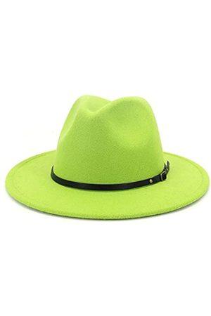 HUDANHUWEI Damen Klassische breite Krempe Fedora Hut mit Gürtelschnalle Filz Panama Hut - Grün - Medium