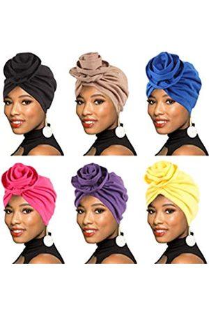BOBIBI 6 Packungen Frauen Turban afrikanisches Muster Headwrap Beanie vorgebundene Motorhaube Chemo Cap Haarausfall Hut - Blau - Einheitsgröße