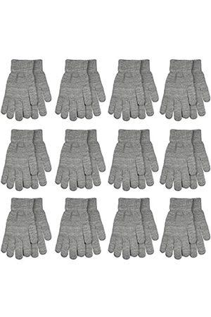 Gelante 6-12 Paar Erwachsene Winter Strickhandschuhe Magic Stretch Handschuhe - Grau - Einheitsgröße