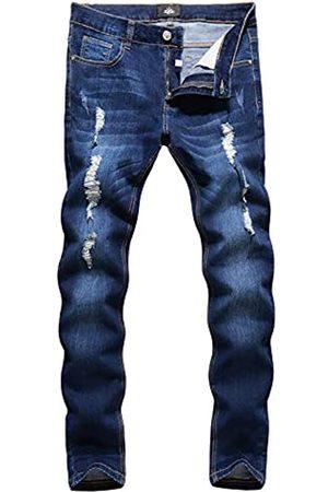 ZLZ Herren Biker-Jeans mit Löchern