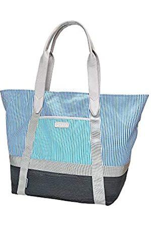 CGEAR Sand-Free Tote IV - Ocean Striped - Klassische extra große Beach Outdoor Weekender Tasche mit patentierter sandfreier Technologie, wasserdichtes Nylon-Obermaterial, Leder konturierte Schultergurte