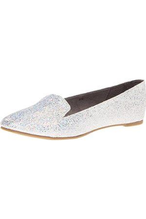 Touch Ups Women's Tammy Flat,Silver Iridescent