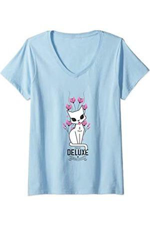 Pussy Deluxe Damen T-Shirts, Polos & Longsleeves - Damen flower cat T-Shirt mit V-Ausschnitt