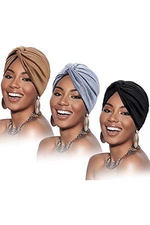 SATINIOR 3 Stücke Kopfwickel für Frauen Soft Vorgebunden Knot Mode Plissee Turban Kappe Mütze Schlafhut