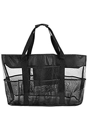 K Y KANGYUN Große Leinen-gestreifte Strandtasche – Reißverschluss oben – wasserdichtes Futter – Tote Schultertasche für Damen Schulterhandtaschen Strand Reise