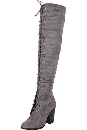 Cambridge Select Damen Schnürstiefel - Damen Chunky Stacked High Heel Oberschenkel High Lace Up Overknee Stiefel, ( , Imsu)