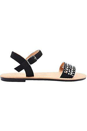 Gold Toe Damen-Sandalen aus Mikroveloursleder, flach, mit Perlen und Stein