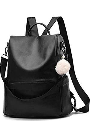 Cheruty Damen Rucksäcke - Women Backpack Purse PU Leather Anti-theft Casual Shoulder Bag Fashion Ladies Satchel Bags(Black-Large)